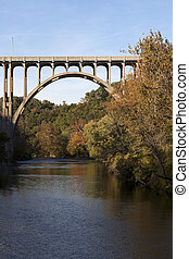 Bridge above Cuyahoga River in Cuyahoga Valley National...