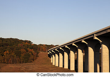 Highway 80 going above Cuyahoga River in Cuyahoga Valley...
