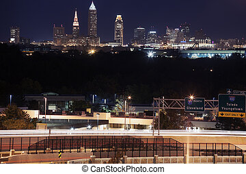 Cleveland skyline and highway 77 in the foreground
