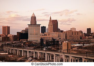 Cleveland - high angle view. Taken with tobacco filter