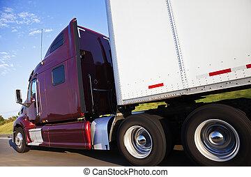 rojo, semi, camión, movimiento