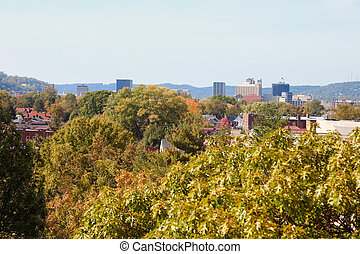 Charleston, West Virginia - distant view of the downtown of...