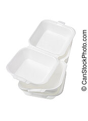 Styrofoam Boxes - Stack of Open Styrofoam Boxes on White...