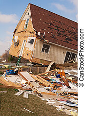 Tornado damage in Lapeer, MI - LAPEER COUNTY, MI - MARCH 15:...