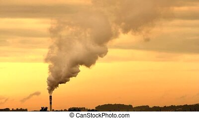 Environmental pollution - A factory polluting the...
