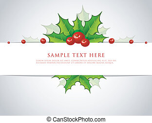 Holly christmas branch back - Vector illustration of Holly...
