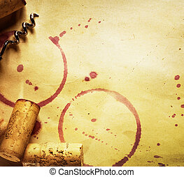 Wine Cork, Corkscrew And Red Wine Stains On The Vintage...