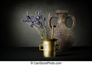 Lavender And Antique Mortar. Natural Cosmetics Concept