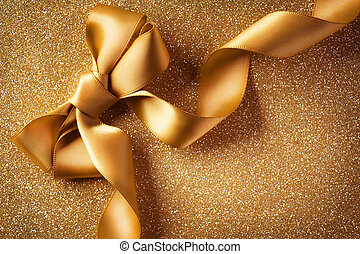 Holiday Background.Greeting Card.Gold Bow on a Blinking...