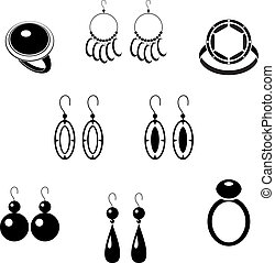 Set of black icons with jewelry - Vector illustration. It is...