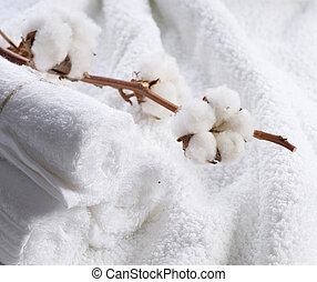 Cotton White Towels With Cotton Plant