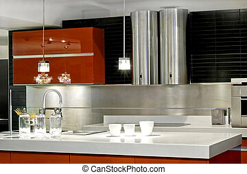 Kitchen countertop - Modern kitchen countertop with double...