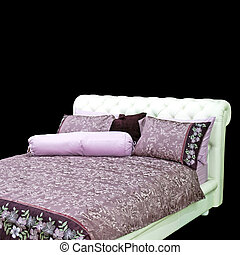 Purple bedding - Big double bed with purple bedding and...