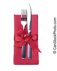 Valentine's Romantic Dinner concept. Cutlery