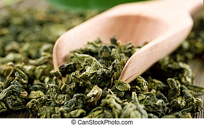 High Quality Green Tea Closeup
