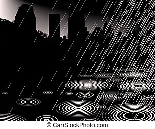 Shower - Illustration of rain with a city skyline and...