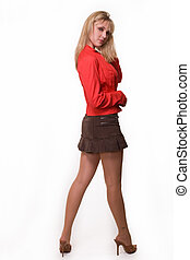 Woman in mini skirt - Full body of a beautiful blond woman...
