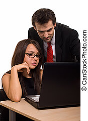 Office assistance - Two business people wearing black...
