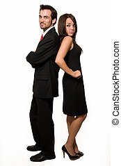 Business couple - Full body of attractive young brunette man...
