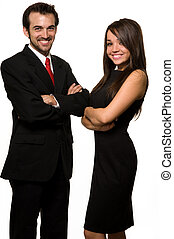 Co-workers - Two business people man wearing black business...