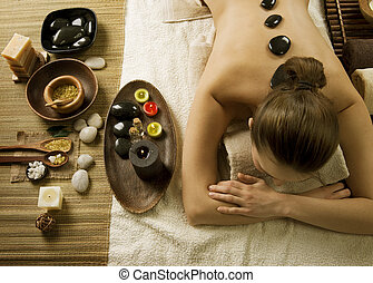 Spa Woman Hot Stones Massage