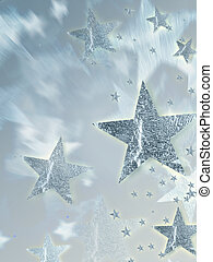 shining silver stars with radiance over grey background,...