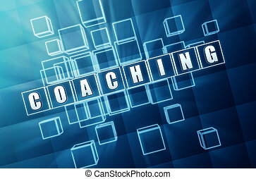 blue coaching in glass blocks - coaching text in 3d blue...