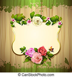 Mirror with roses and butterfly over wood texture