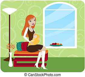 Mommy Chic - Stylish Mommy sits in her chic home and holds...