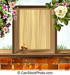 Wood background with flowers - Window frame with flowers
