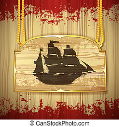 Pirate ship over wood banner