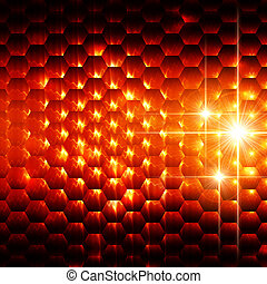 abstract orange hexagons background - abstract orange...