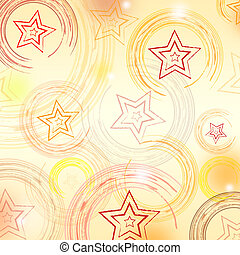 abstract beige background with circles and stars - retro...