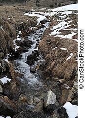 river in Andorra la Vella - Andorra la Vella river with...