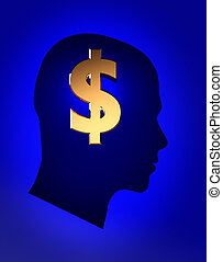 Thoughts about money - Male head with sign dollar inside