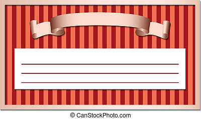 ribbon in frame on a striped backgr