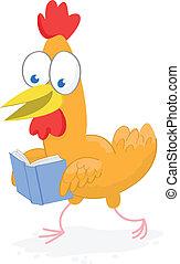 Walking chicken reading