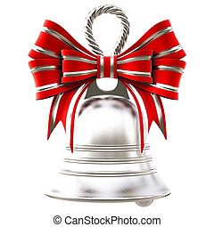 bells - silver bells with a red bow isolated on white