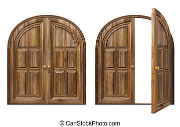 Open Double Door Drawing drawing of door - open and closed wooden doors. isolated on white