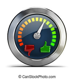 mood meter - Mood meter. 3d image. Isolated white...