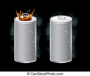 Vector of cans with the ring pull. - The abstract of Vector...