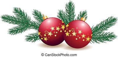 Christmas bulbs with fir branch