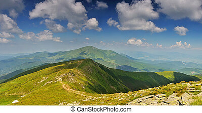 Path from Hoverla mountain to Petros mountain. Ukraine....