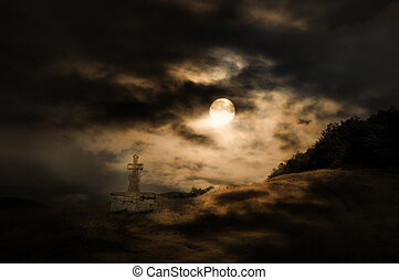 Halloween scenery background with cross, moon and forest in...