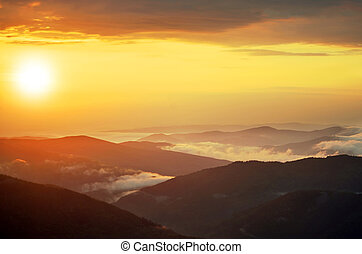 Spring landscape in mountains with the sun - Spring golden...