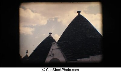 Vintage 8mm Houses in Alberobello - Vintage 8mm Typical cone...
