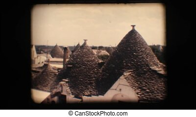 Vintage 8mm. Trulli in Alberobello - Vintage 8mm. View of...