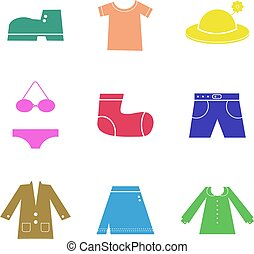 clothing shapes - collection of colourful icon shapes...