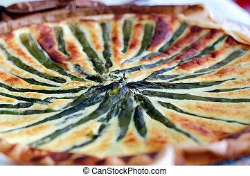 asparagus quiche - closeup vies of a an asparagus quiche