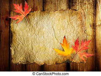 otoño, hoja, hojas, papel, viejo